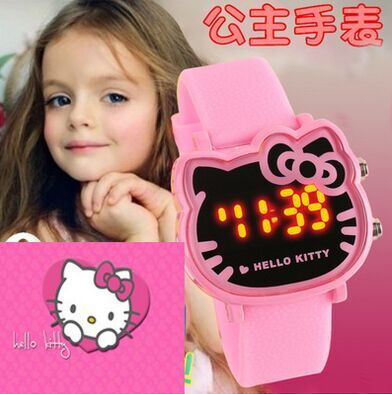 Hello kitty Cartoon Watch Children Girls Pink Rubber Band Led Digital Watches Fashion Clock Women Hour Relojes Relogio Feminino kid baby hello kitty watches 2017 children cartoon watch kids cool 3d rubber strap quartz watch clock hours gift relojes relogio