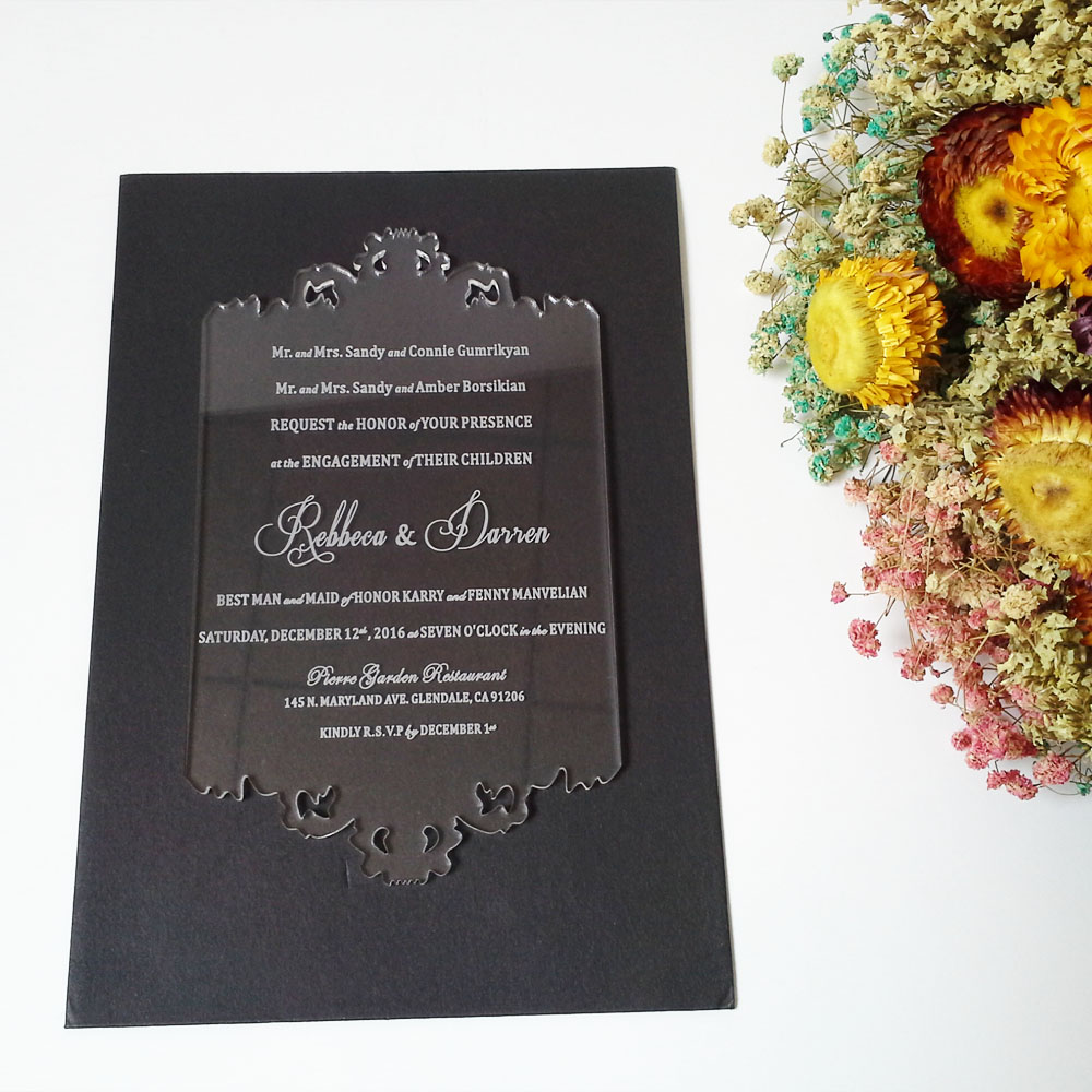Customized 110180mm Laser Engraved Letters Hollow Pattern Clear Acrylic Wedding Invitation Card 1lot100pcs In Cards Invitations From Home Garden On