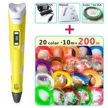 Myriwell 3D Ручка + 20 цвет * 10 м ABS нити (200 м), 3 D Ручка 3D модель смарт-Идеальный 3D печать Ручка Best подарок для детей pen-3d