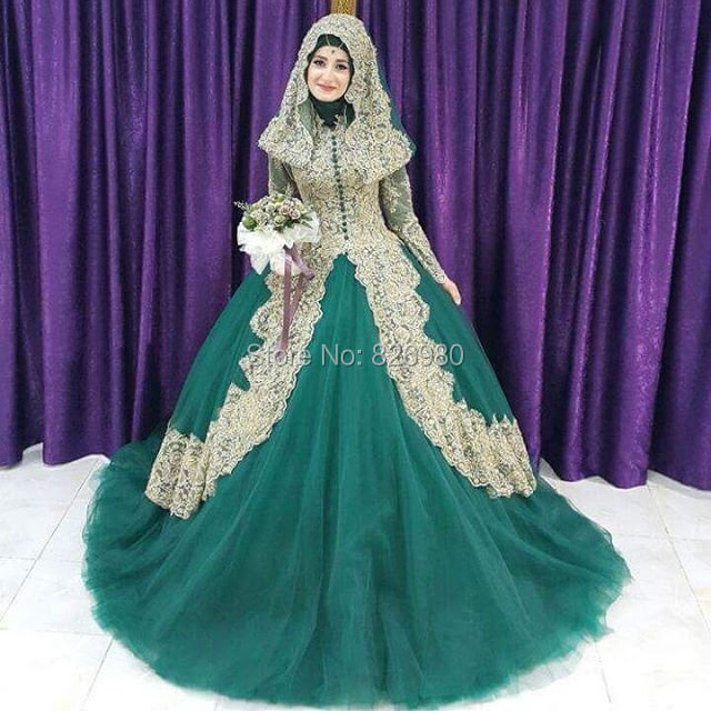 hijab lace appliques green gold wedding dresses long sleeve turkish islamic wedding gowns hochzeitskleid robe de