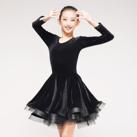 Black Latin Dance Dress High Quality Girls Tango Salsa Rumba Stage Performing Clothes Korean Velvet Ballroom Dancing Wear DC1107