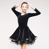 Black Latin Dance Dress High Quality Girls Tango Salsa Rumba Stage Performing Clothes Korean Velvet Ballroom Dancing Wear DC1107