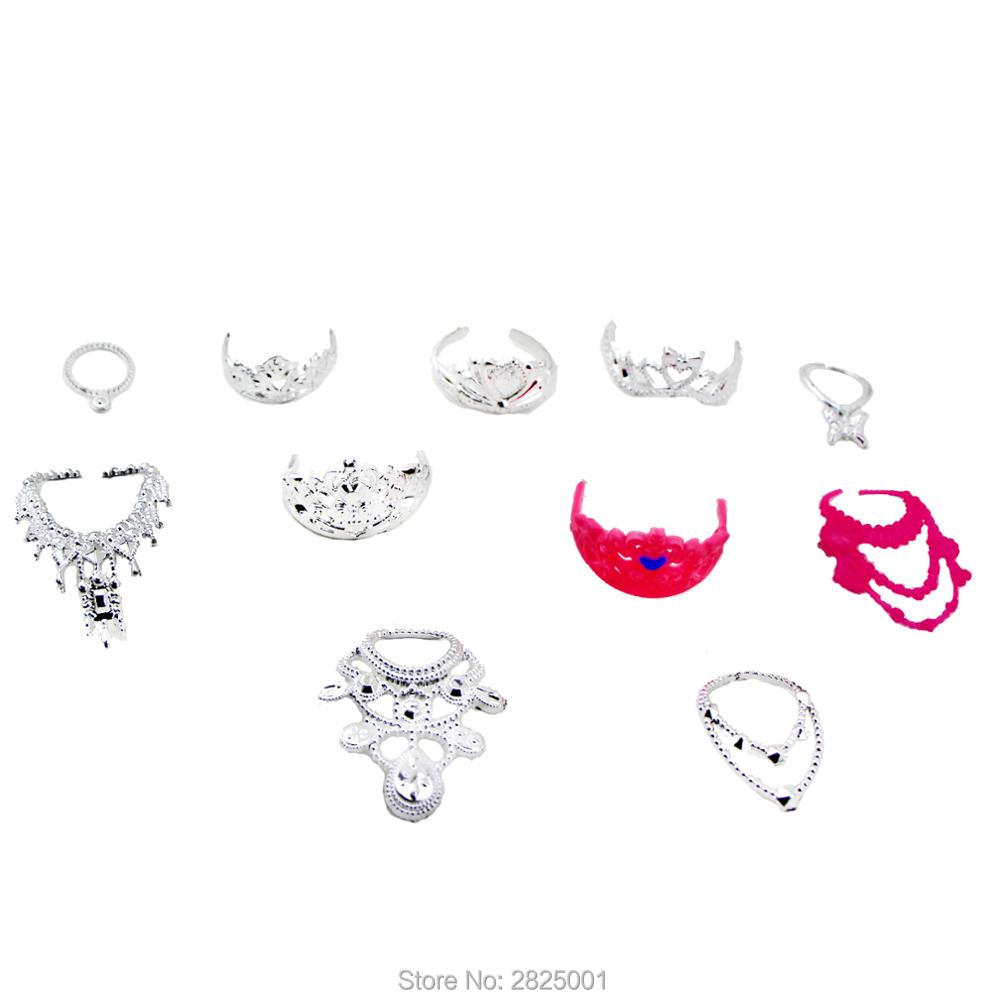 6 Pcs Fashion Plastic Chain Necklaces + 5 Pcs Princess Crowns Jewelry Doll 1:6 Accessories For Barbie Doll Dollhouse Kids Toy