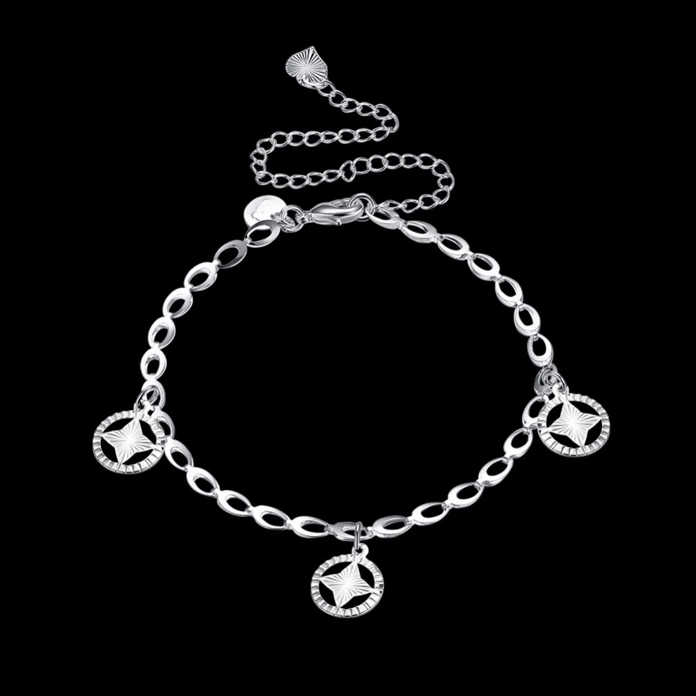 Круглые звезды Ножные браслеты ноги носить романтическое очарование 925 Оригинальный серебряный творческая жизнь Безопасная Цепи для девоч...