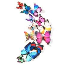 дешево!  Наклейки на стены стикеры украшения дома 3D бабочка красочные X7.19 Лучший!