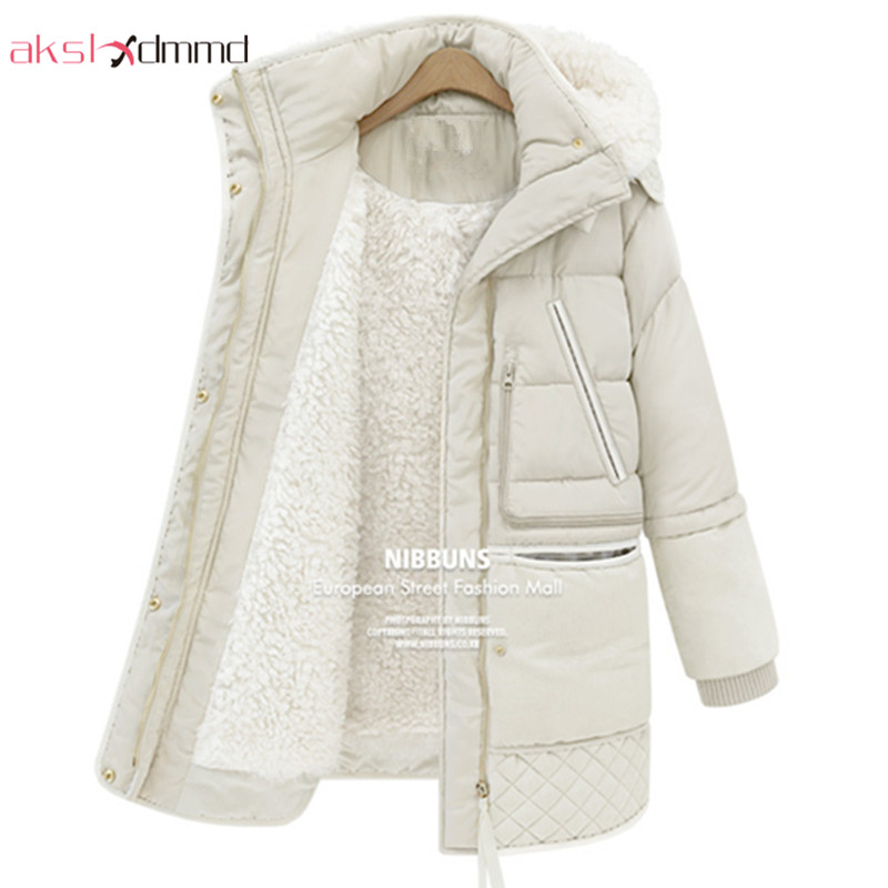 AKSLXDMMD 2017 New Winter Plus Size Women Thick Padded Jackets Warm Hooded Long Slim Thin Lamb's Wool Jacket Coats Parkas LH284 akslxdmmd parkas mujer plus size winter coats 2017 new thick padded cotton printed letters hooded winter women jacket lh1114