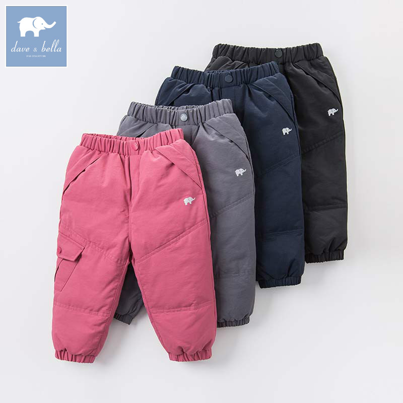 DB6434 Dave Bella зимние унисекс утепленные брюки для мальчиков и девочек полной длины Детская мода одноцветное Штаны детские штаны