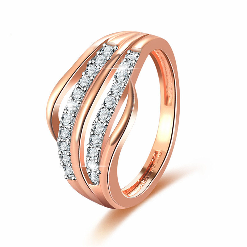 Новые модные женские обручальные золотые украшения-Цвет Обручение кольцо для Для женщин CZ камнем Обещание Кольца