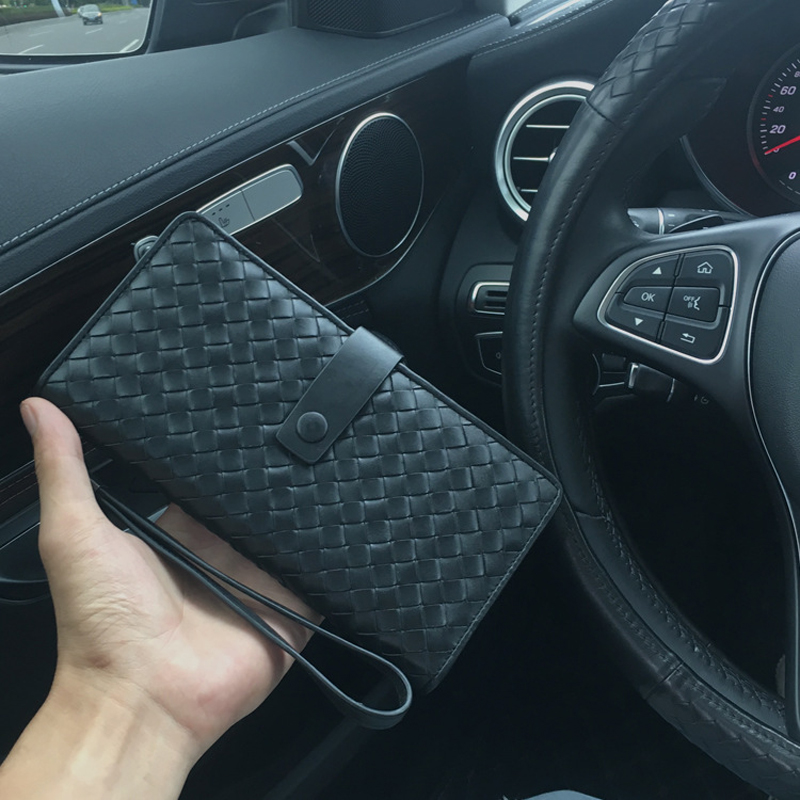 2018 High-end customization weave a cow Leather folding hasp long style men wallet n a hasp