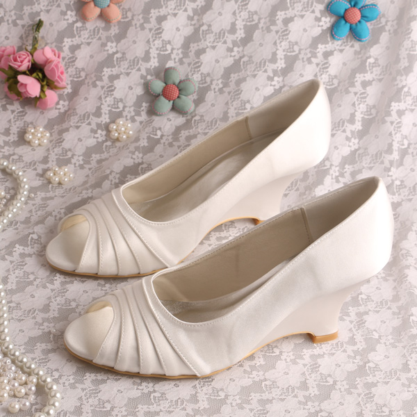 (20 Colors)Custom Color Name Brand Beautiful Wedge Shoes Bridal Wedding Ivory Satin Peep Toe