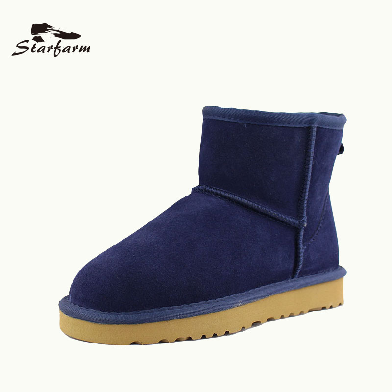 STARFARM 2017 Winter Shoes Snow Boots Women Australia Boots Fur Wool Ankle  Boots Wool Slip On Shoes Warm TPR Boots SF17918 fd82640095d2