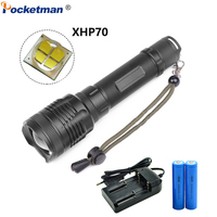 Pocketman 40000LM LED Flashlight Powerful XHP70 Zoomable Torch LED Torch Super Bright Lantern with 2*18650 Battery