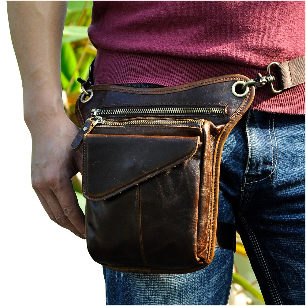 Hot Sale Top Quality Crazy Horse Real Leather Men Vintage Brown Small Belt Messenger Bag Waist Pack Drop Leg Bag 211-3