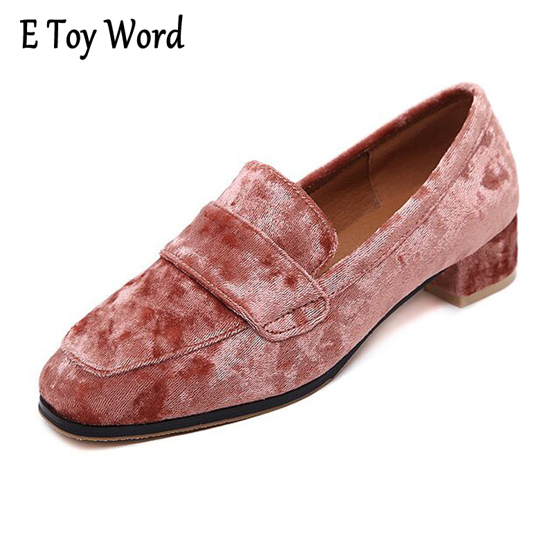 E TOY WORD British style Loafers Casual Velvet Shoes Woman 2017 Slip On High Heels Oxfords Platform Shoes Ladies Size 35-40 e toy word canvas shoes women han edition 2017 spring cowboy increased thick soles casual shoes female side zip jeans blue 35 40