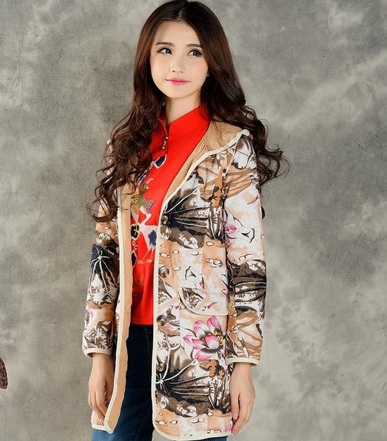 Plantas moda Impreso trinchera mujeres de la capa de impresión de la vendimia hembra Cazadora plus size con capucha abrigos otoño invierno outwear LX6184