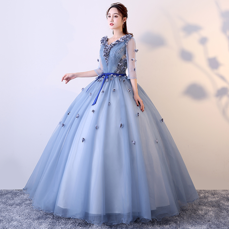 Spring 2019 New Colored Yarn Solo Show Dresses Ball Long Temperament Leading E-Dresses Ravishing Gown