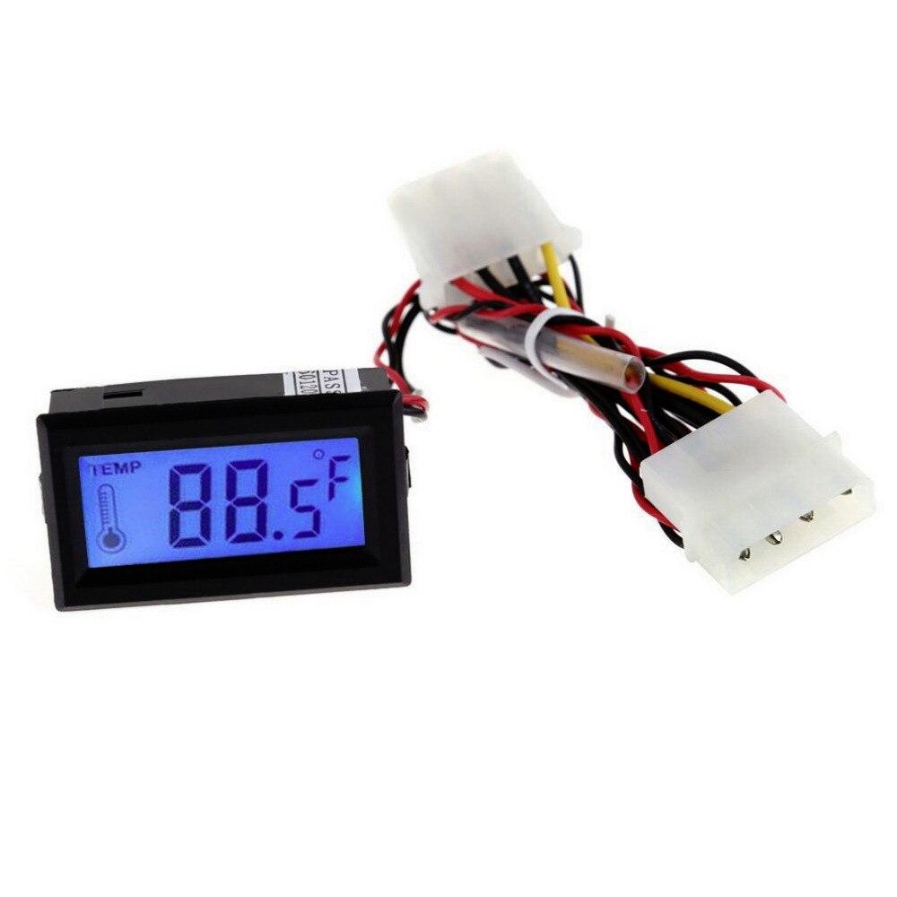 1pc Digital Thermometer Temperature LCD Meter Gauge PC Car Mod C/F Molex Panel Mount Hot Sales