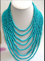 "Long 100"" 14MM baroque blue abnormity turquoise BEAD NECKLACE"