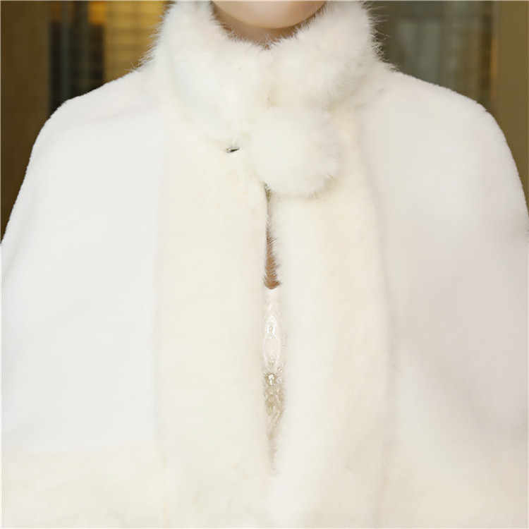 JaneVini 2018 งาช้างฤดูหนาว Faux Fur เจ้าสาวห่อผู้หญิงงานแต่งงาน Cape Shawl ผ้าคลุมไหล่ชุดราตรีแจ็คเก็ต Bolero De Mariage
