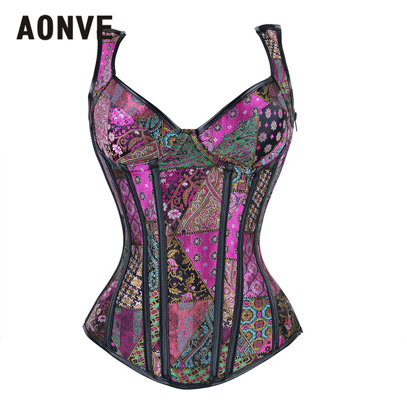 AONVE Steampunk   Corset   Burlesque And   Bustiers   Overbust White   Corsets   6XL Women Plus Size Sexy Lingerie Gothic Clothing Corsage