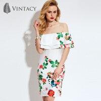 Vintacy 2017 New Arrivals White Women Summer Dress Slash Neck Casual OL Women Dress Spring Women