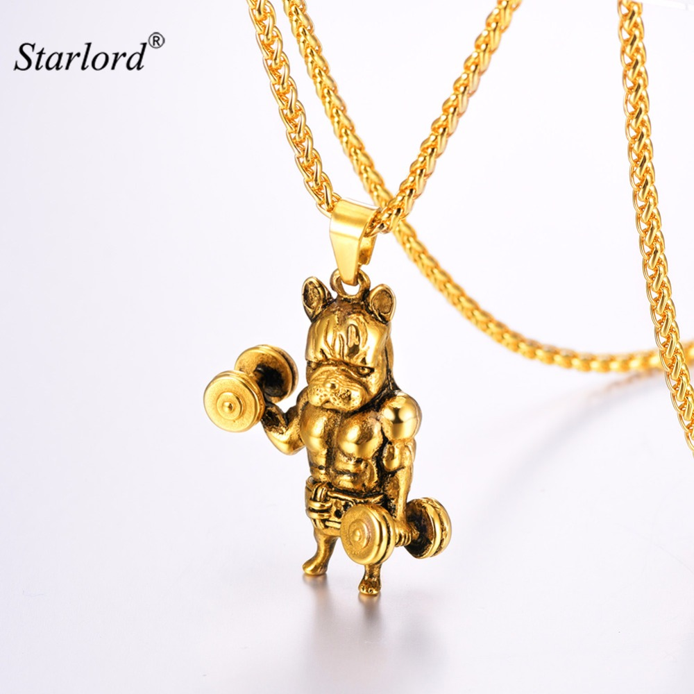 Starlord Bulldog Necklace For Men Gold/Stainless Steel Weight Lifter/Bodybuilder Fitness Charm Dog Necklace Animal GP3278