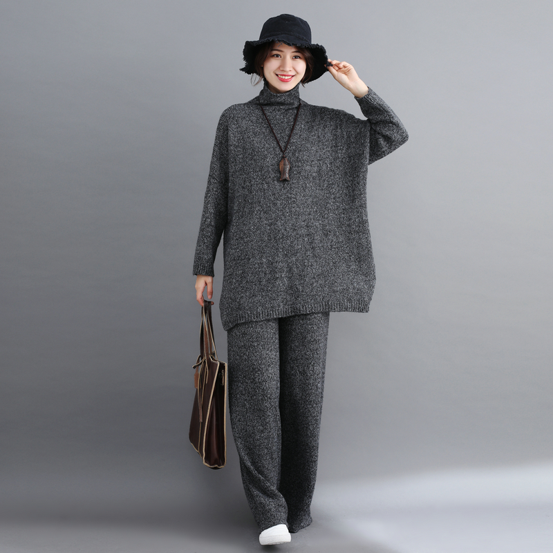 Women Autumn Winter Two Piece Set Turtleneck Pullover Sweaters Jumpers  Ladies Top Femme Thick Coat Wide Leg Pants Knit Trousers-in Women s Sets  from Women s ... f8ba70161ffd