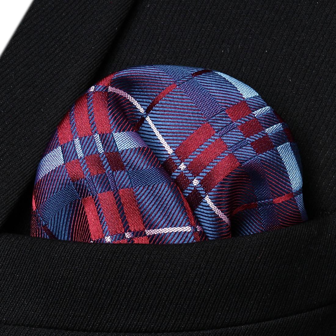 HC907B Blue Burgundy Check Men Silk Party Handkerchief Pocket Square Hanky