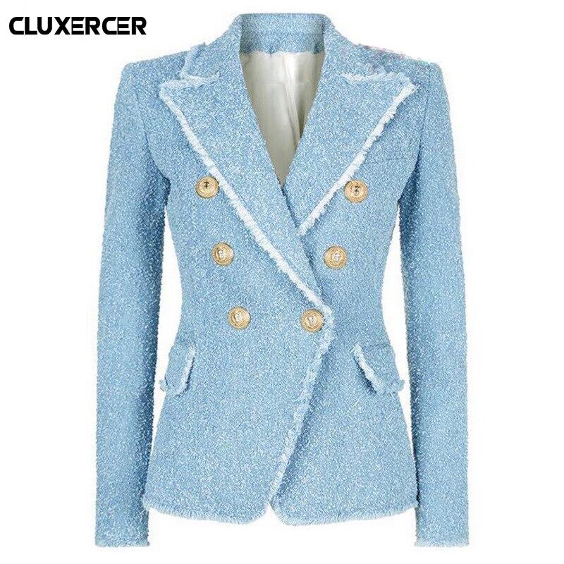 Vintage Double Breasted Tassel Tweed Blazer Coat Women Fashion Metal Buttons Notched Collar Wool Blends Blazer