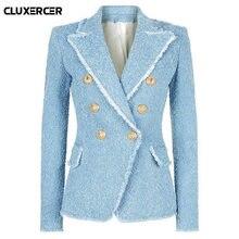 Женский твидовый Блейзер винтажный двубортный пиджак с бахромой