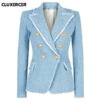 Jacket woman office 2018 Autunm Winter runaway designers Slim blazers for women Elegant Long sleeve double breasted blazer women
