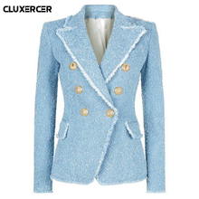 Vintage Double Breasted Tassel Tweed Blazer Coat Women Fashion  Metal Buttons Notched Collar Wool Blends Blazer Suit Female Top