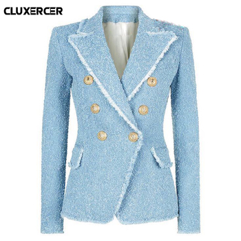 Vintage Double Breasted Tassel Tweed Blazer Coat Women Fashion  Metal Buttons Notched Collar Wool Blends Blazer Suit Female Top za women double breasted check blazer long sleeve lapel collar blazer front flap pockets double breasted front button fastening