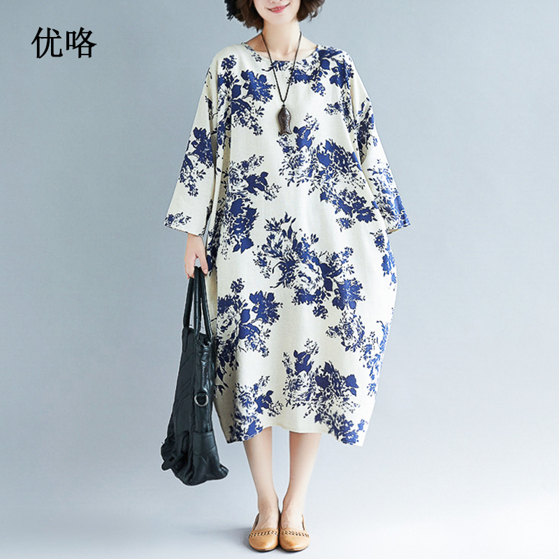 US $13.59 32% OFF|2019 New Summer Blue And White Porcelain Printed Linen  Dress Plus Size Women Loose Long Dresses Vintage Cotton Dress 4XL 5XL  6XL-in ...