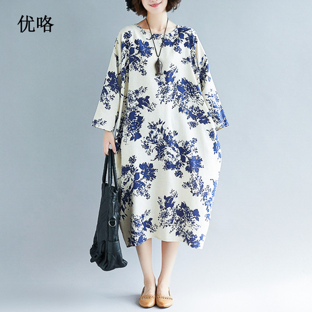 1c4b954dab1 2019 New Summer Blue And White Porcelain Printed Linen Dress Plus Size Women  Loose Long Dresses Vintage Cotton Dress 4XL 5XL 6XL