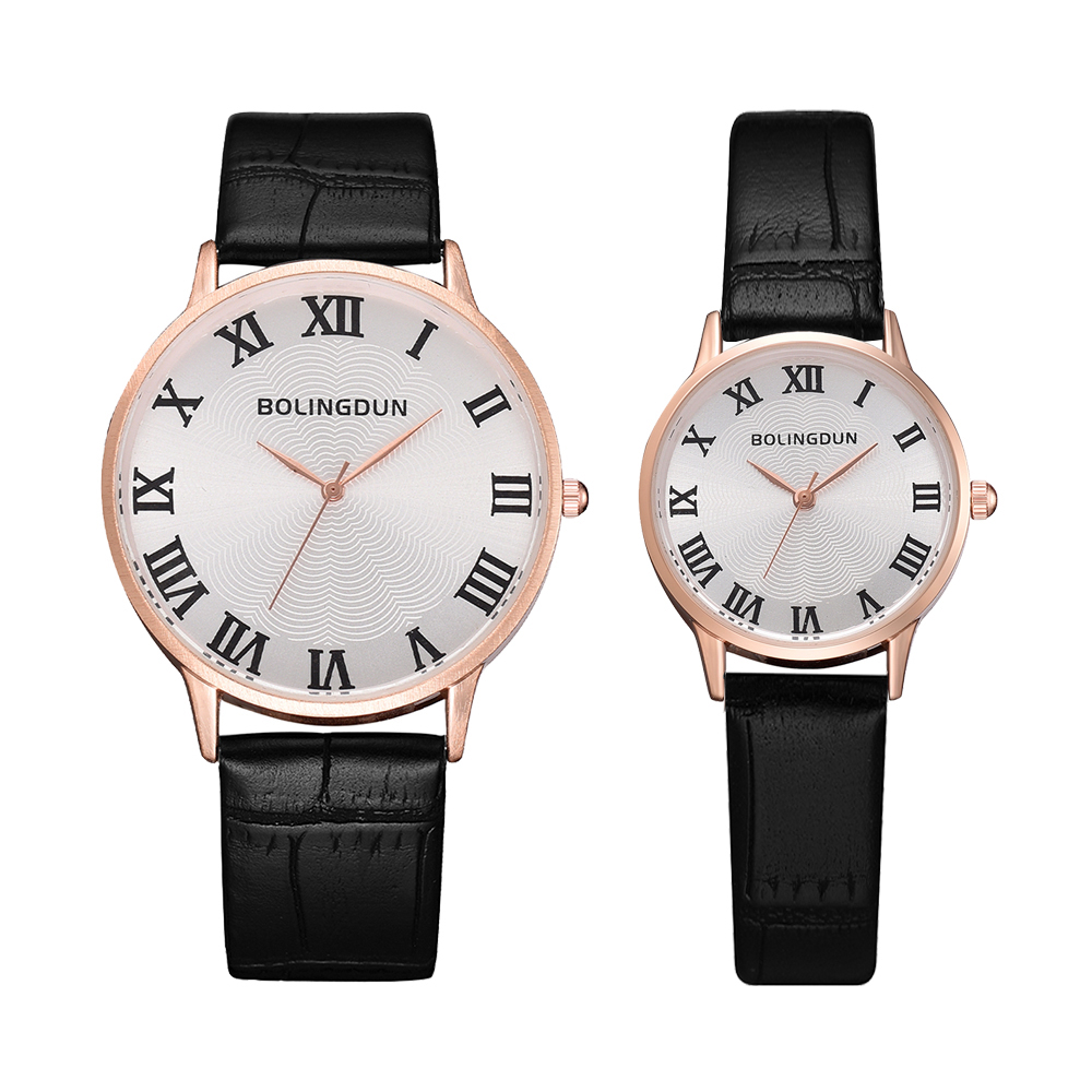 2 PCS Creative Personality Minimalist Leather Waterproof Dress Watch Men And Women Couple Watch Smart Casual Sports Clock Watch