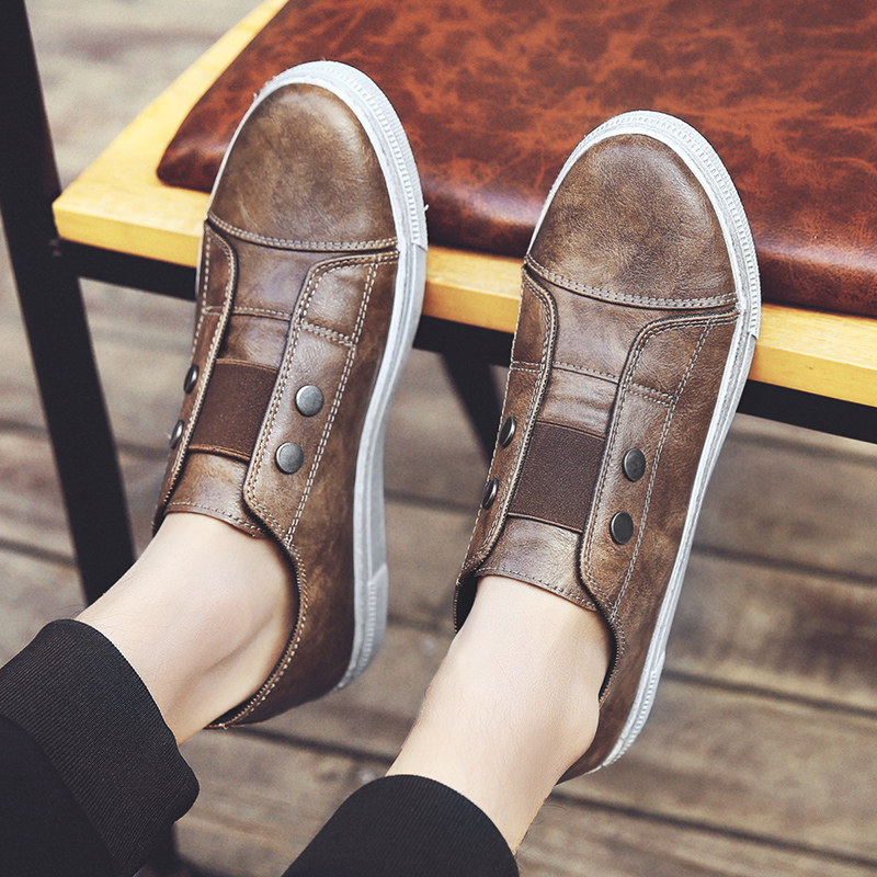 Brand Designer Men Casual Shoes Flats PU Leather Round Toe Brown Slip on Loafers Male Flat Trainers Moccasins Souliers XK031706 2017 autumn fashion men pu shoes slip on black shoes casual loafers mens moccasins soft shoes male walking flats pu footwear