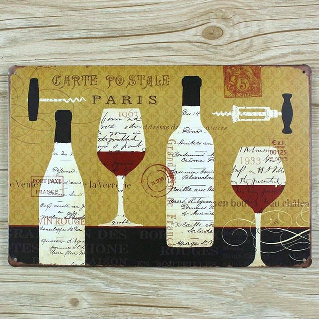 New arrival Vintage painting Metal Tin signs Wine Drink Bar whiskey ...