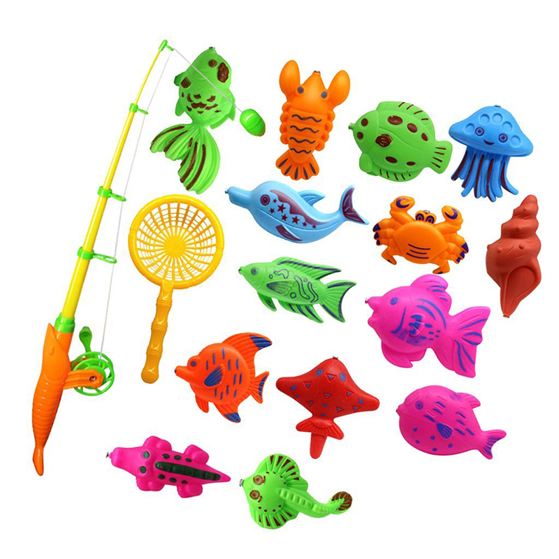 Bath Toy Fishing Fish Model Magnetic Bathtub Set Gift For Baby Child - 15pcs