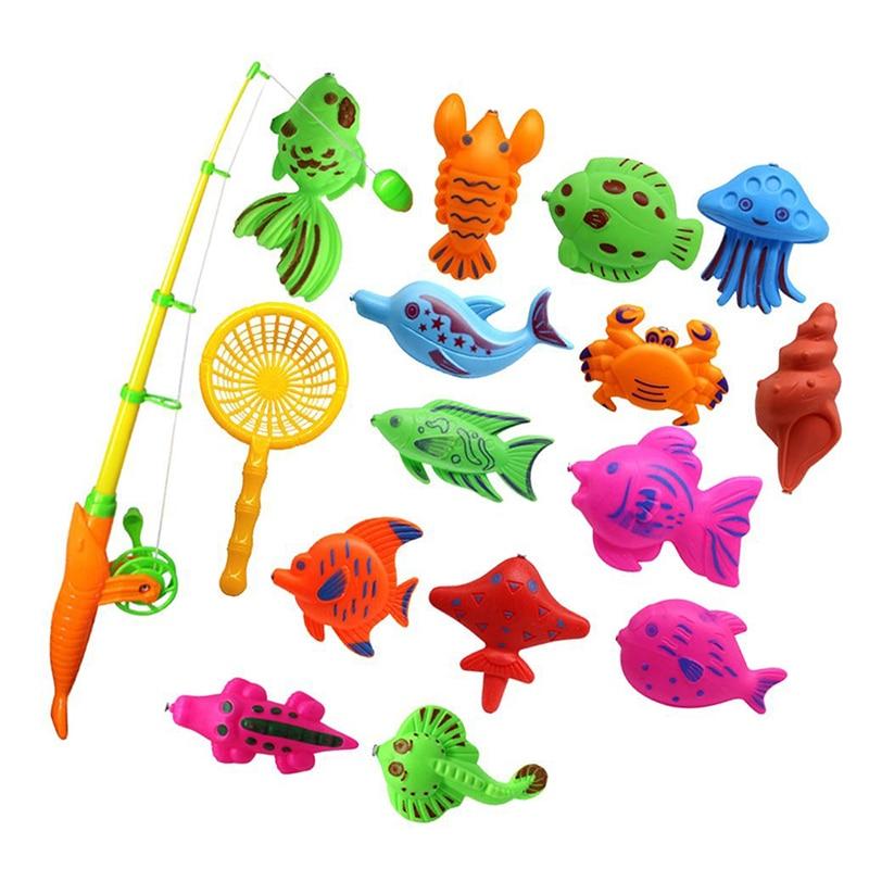 Bath Toy Fishing Fish Model Magnetic Bathtub Set Gift For Baby Child - 15pcs