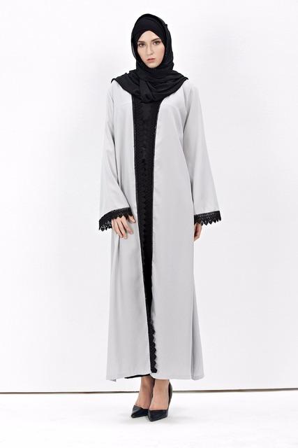 2016 cardigan chilaba turco Musulmán ropa de mujer abrigo largo de moda dubai alta calidad cordón de la rebeca outwear