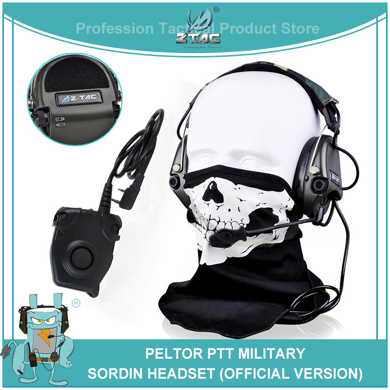 Z Tac Softair Pilot Headset TCI Liberator II MSA Sordin Noise Canceling Tactical Headphones With Midland Kenwod PTT Z111+ Z112