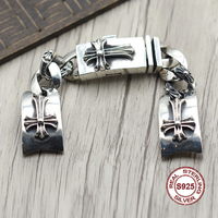 925 наручные часы из стерлингового серебра браслеты личности стиль ретро, Панк крестоносца потраченные высокомерие грубый браслет ювелирны