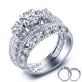 Vintage Style Victorian Art Deco 1.5 Ct Created  Solid Sterling 925 Silver 2-Pcs Wedding Engagement Ring Set YR0005