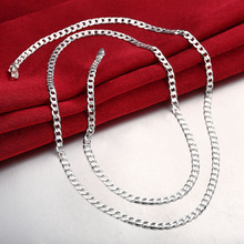 Free ship  Women 4MM Full Sideways Link Chains Silver Necklace 925 Sterling Fashion Jewelry Men 16-30