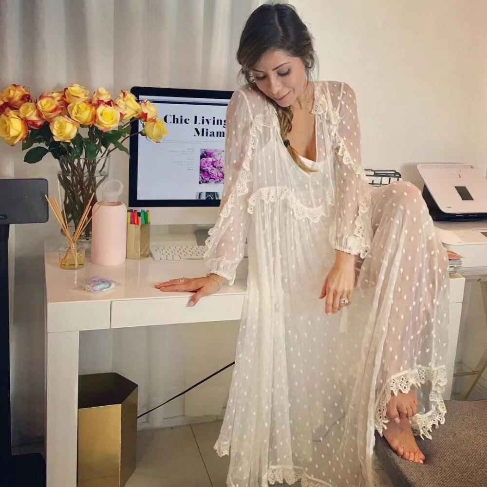 2018 été Designer robe femmes blanc deux pièces soie dentelle Dot longue robe dames col en v à manches longues Transparent bohème robe