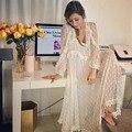 2020 sommer Designer Kleid Frauen Weiß Zwei Stück Seide Spitze Dot Lange Kleid Damen V-ausschnitt Langarm Transparent Böhmisches Kleid