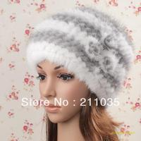 Women Winter Mink Hat Knitted Beret Thermal Fur Hat Winter Cap Lady Rose Mink Fur Warm Fox Fur Skullies & Beanies Hats Qc