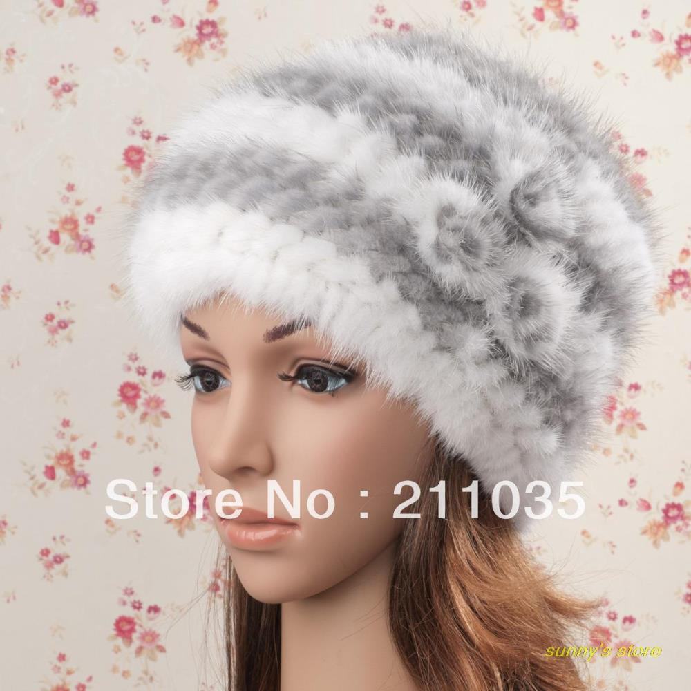 Women winter mink hat knitted beret thermal fur hat winter cap lady rose mink fur warm fox fur Skullies & Beanies hats  QC import mink hand knitted pineapple mink hat fur hat thermal millinery rabbit hair hat