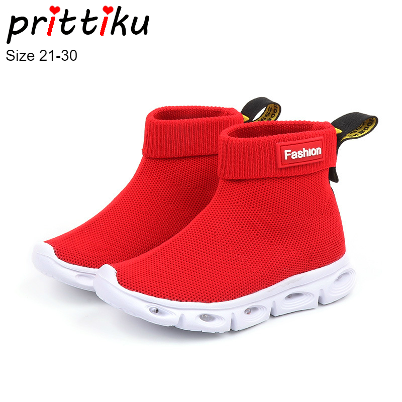 Autumn 2018 Boys Girls LED Light Up Knit High Top Sneakers Children Fashion Boots Booties Brand Shoes Baby/Toddler/Little Kid winter 2018 girls boys plaid high top plush warm lined sneakers baby toddler little kid casual trainers children lace up shoes